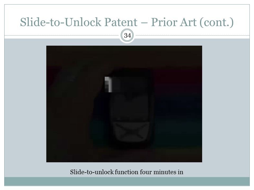 Slide-to-Unlock Patent – Prior Art (cont.)