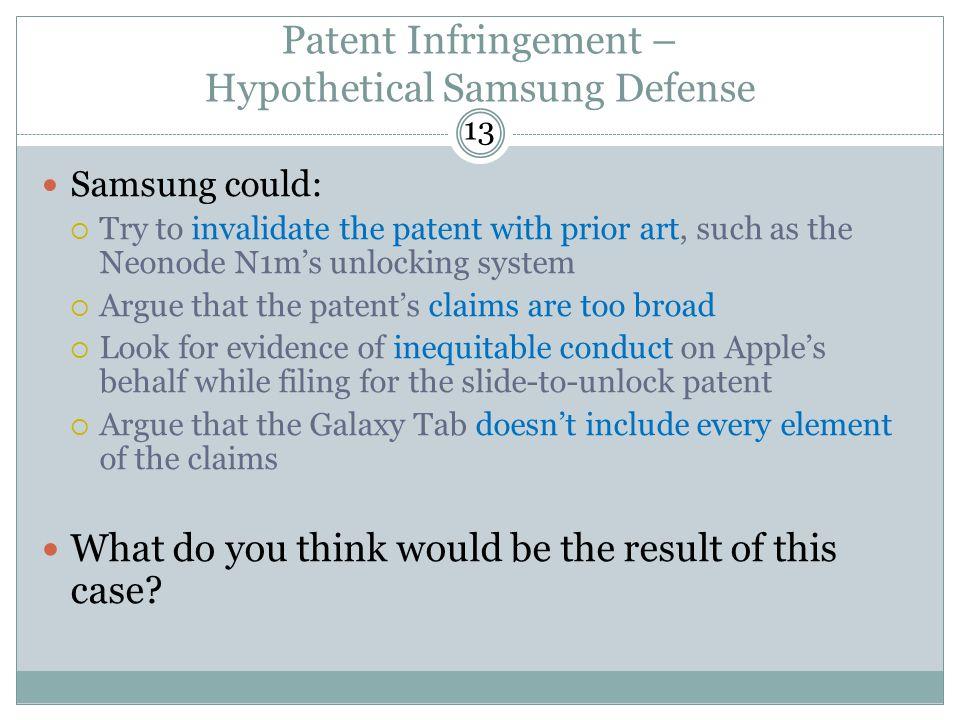 Patent Infringement – Hypothetical Samsung Defense