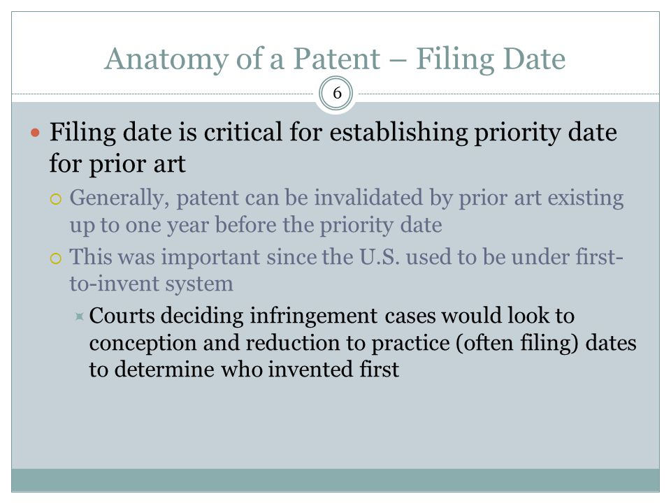 Anatomy of a Patent – Filing Date