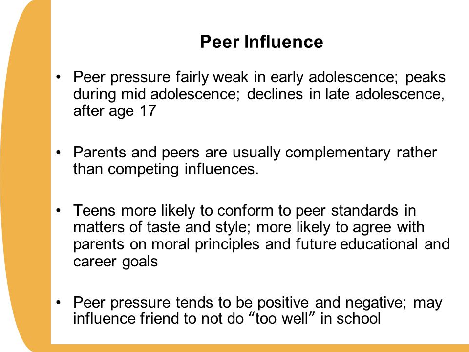 peer pressure during adolescence Adolescent peer pressure - wanting to fit in peer pressure during childhood and adolescence equips young people to develop healthy friendships.