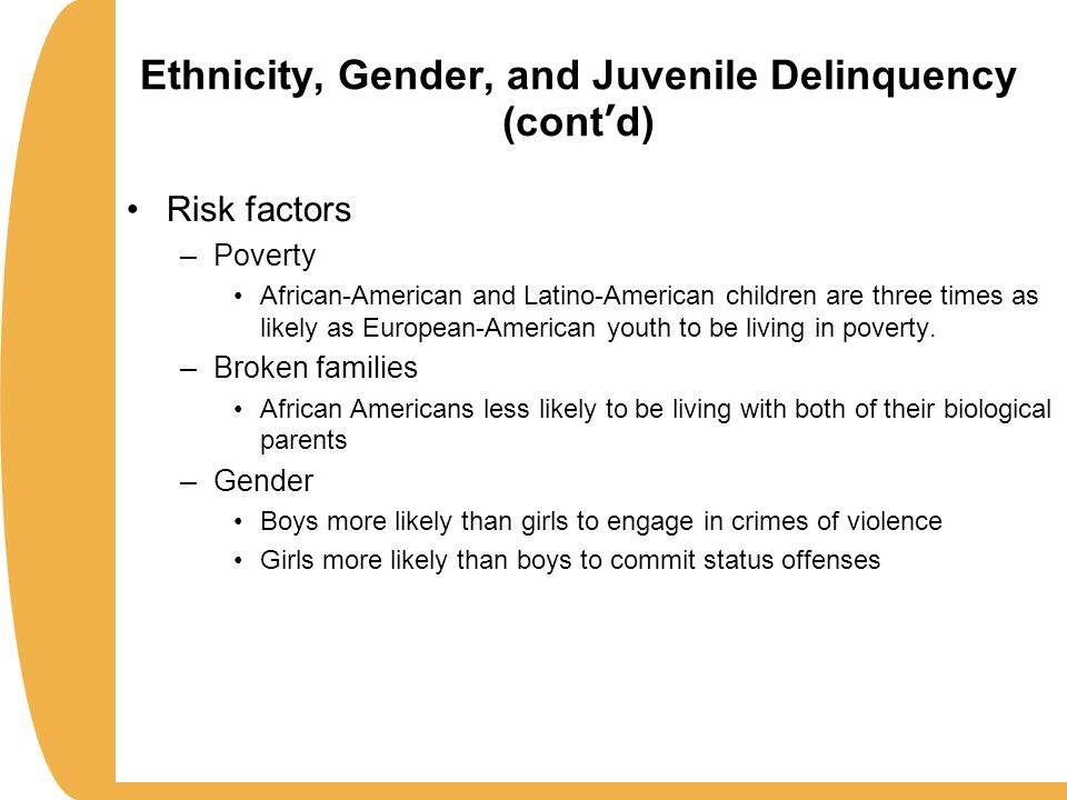 gender and family cause delinquency Age and gender differences in family influences on delinquency and drug use   how do specific parenting practices contribute to the overall influence of the.