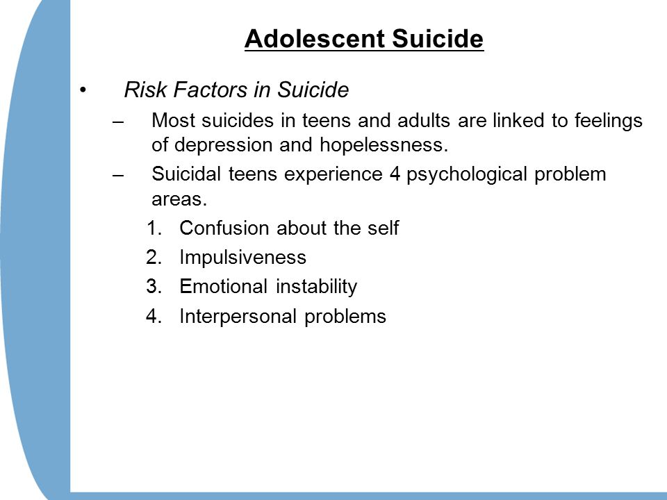 adolescent suicide essay Youth and suicide rates essay example - race and ethnicity among youths in every 100,000, whites suicide rate 35% and is the 2nd cause of death in african americans, the suicide rate is 14 % and is the 3rd cause of death.