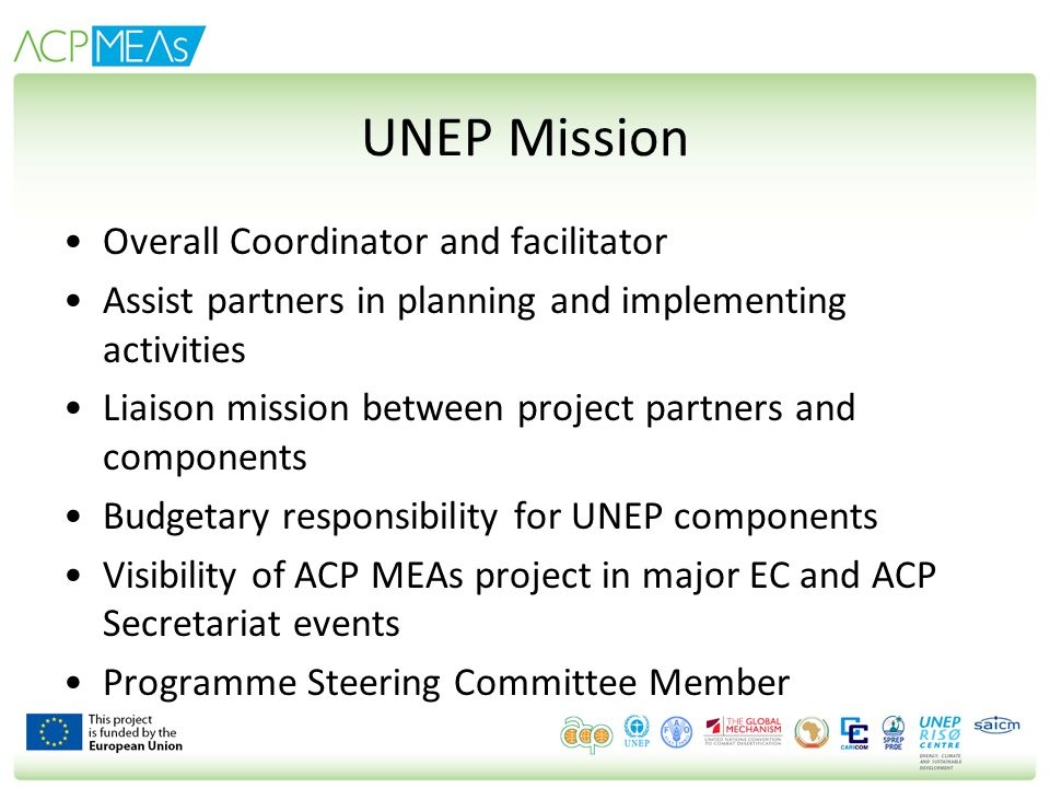 UNEP Mission Overall Coordinator and facilitator