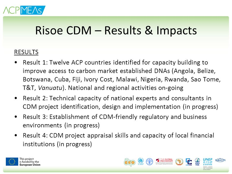 Risoe CDM – Results & Impacts