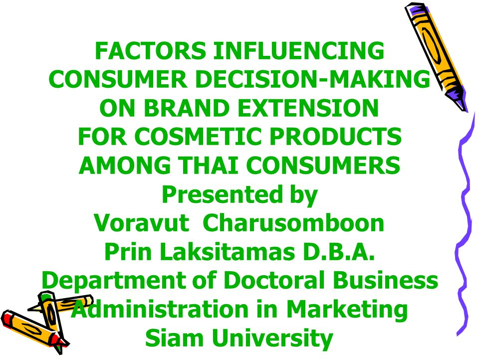 an examination of the factors influencing the decision making of consumers Analysis this study has found that the factors consumers consider for their   different manufacturing companies as well as these products are being imported   has strived to explore the factors that affect purchasing decisions of the.