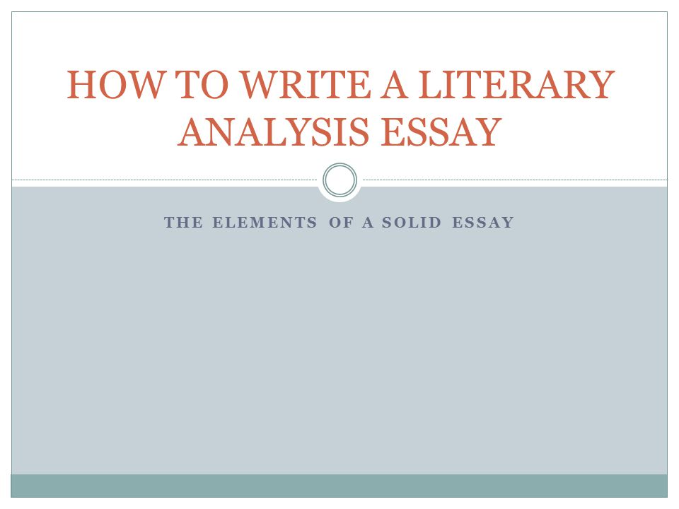 How To Write A Analysis Essay
