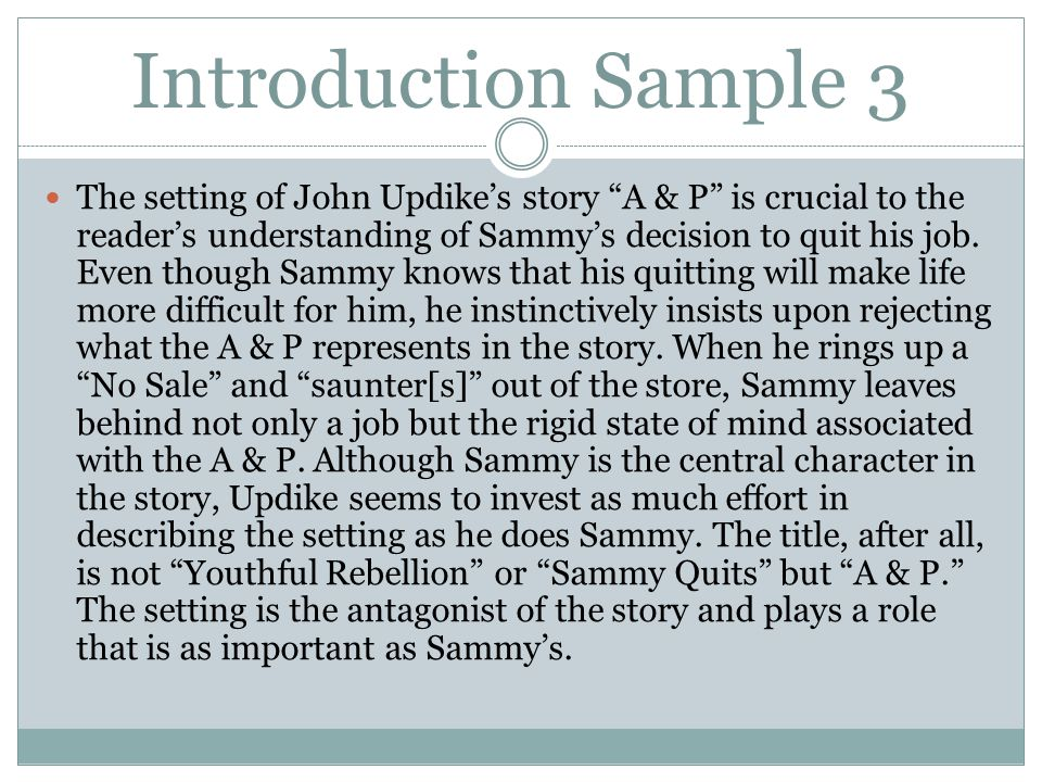 a p character analysis sammy Read this essay on character analysis on sammy from a &p short story come browse our large digital warehouse of free sample essays get the knowledge you need in order to pass your classes.