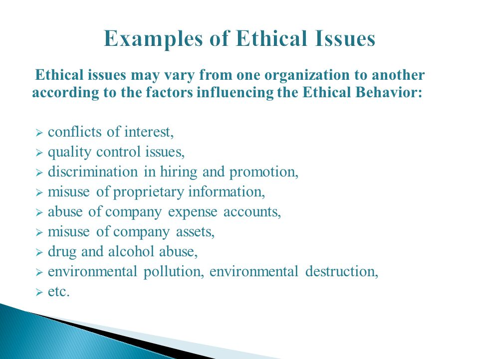 examples of ethical issues Ethics in organizations and leadership  ethical issues emerge at a new level  an example of a mission culture that daft gave was pepsico 3.