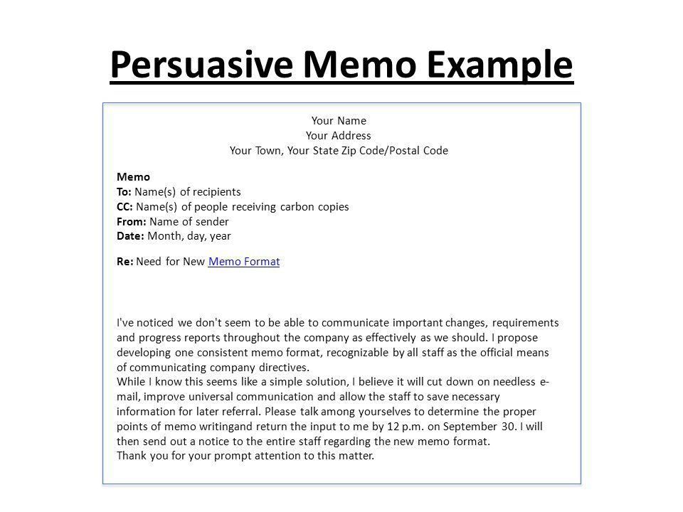How to Write a Persuasive Memo