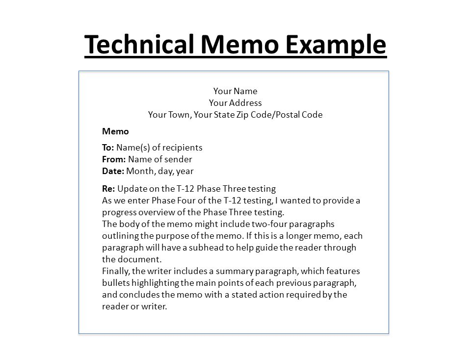 Technical Memo Example