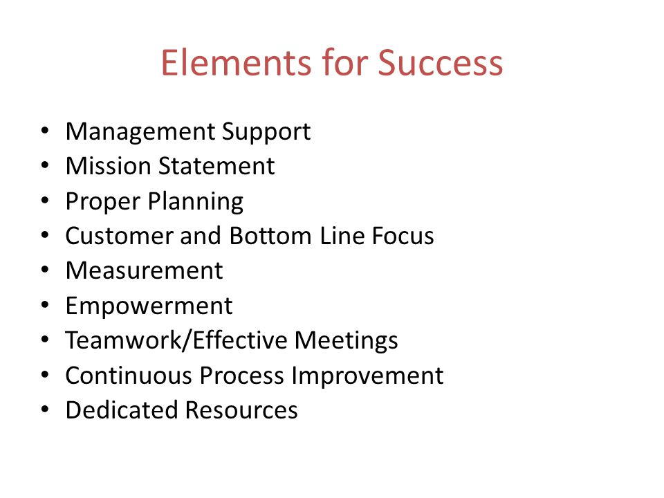 Elements for Success Management Support Mission Statement