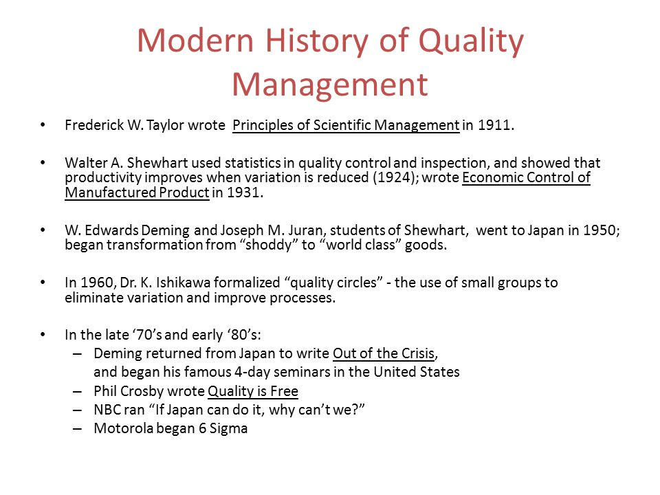 Modern History of Quality Management