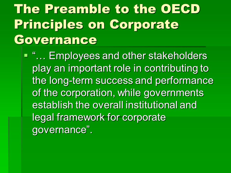 role and importance of corporate governance 6 between the institutions and large corporates sound corporate governance is unlikely to take hold in south africa, and in emerging economies generally, without institutional investors playing the key role particularly important is.