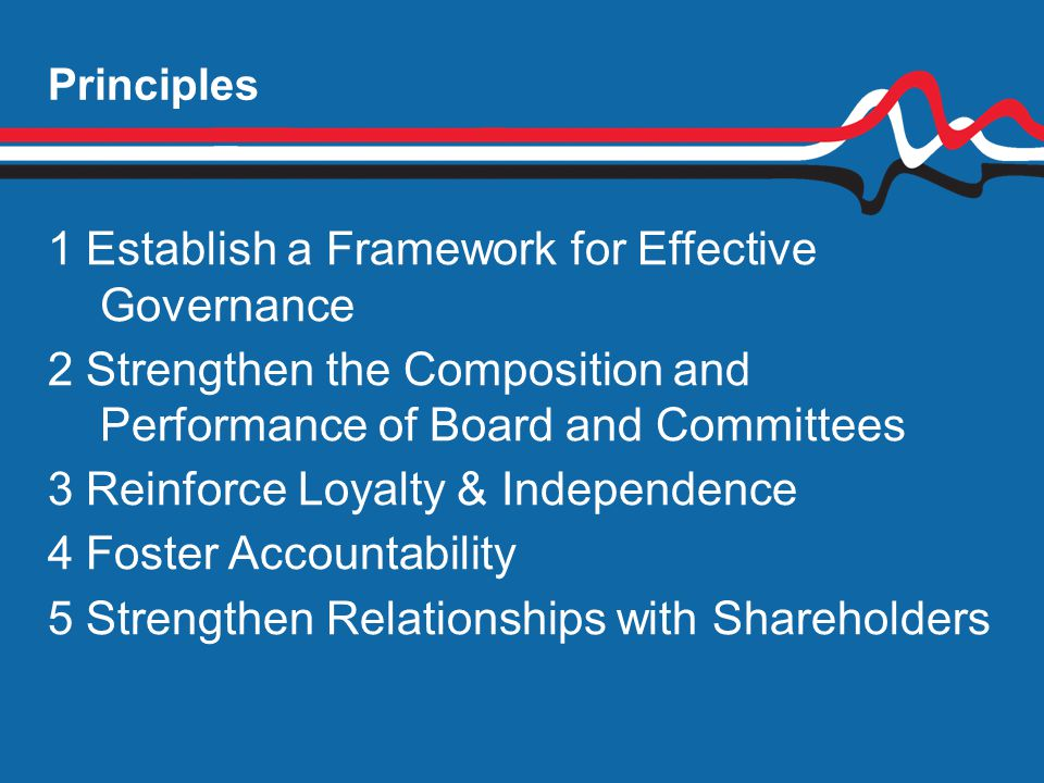 1 Establish a Framework for Effective Governance