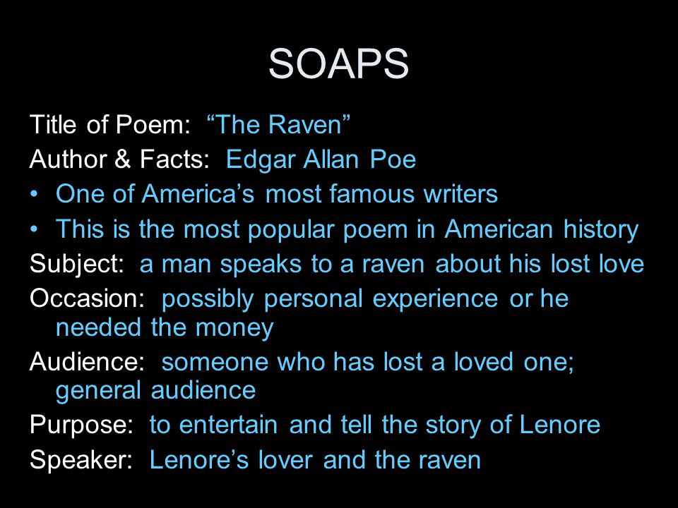 the raven rdquo edgar allan poe ppt video online soaps title of poem the raven author facts edgar allan poe