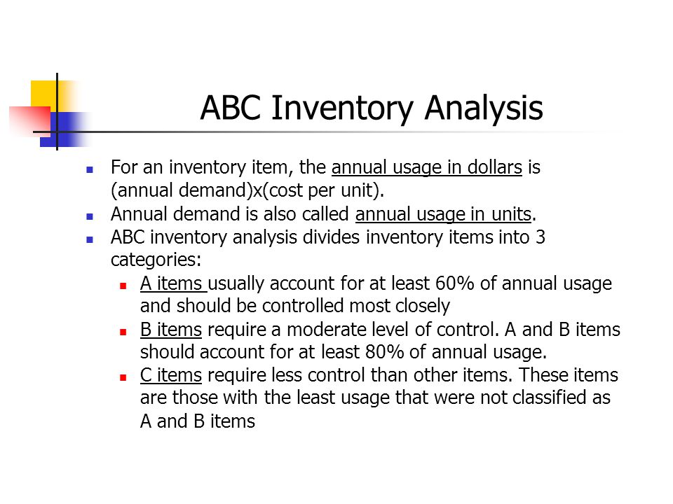 ABC analysis (Inventory) Definition - Inventory Optimization Software