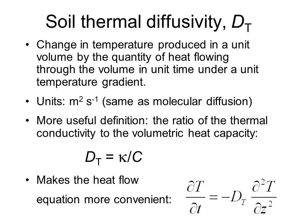 Thermal diffusivity equation tessshebaylo for Soil in sentence