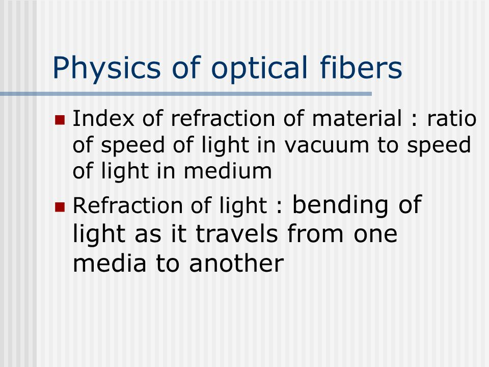 Physics of optical fibers