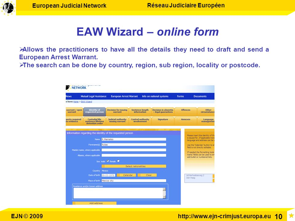 EAW Wizard – online form