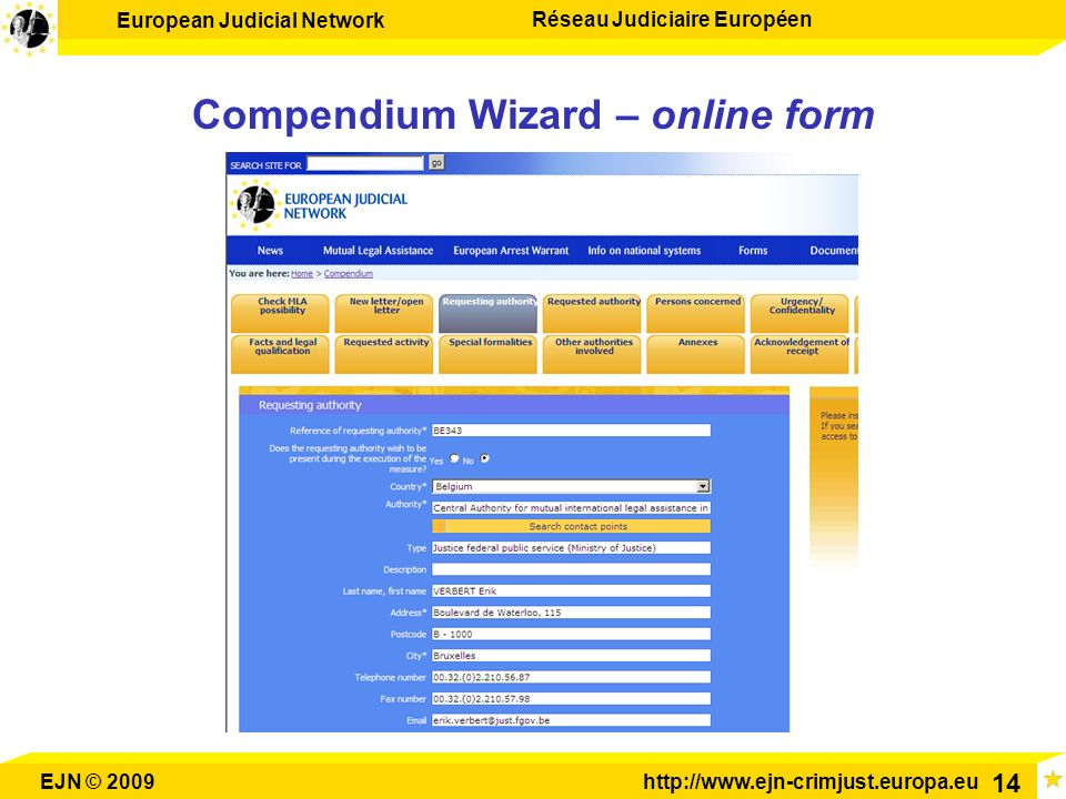 Compendium Wizard – online form