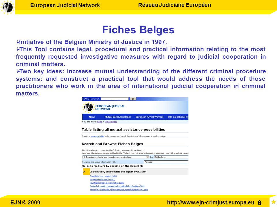 Fiches Belges Initiative of the Belgian Ministry of Justice in 1997.