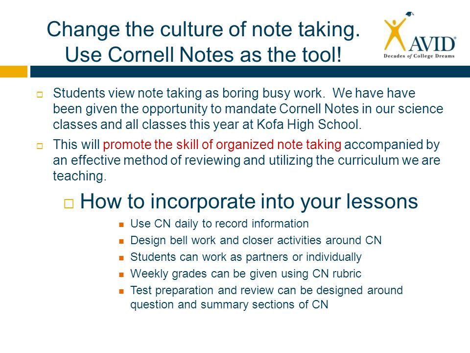 Avid Worksheets For High School Students : Why cornell notes in science and at kofa ppt video