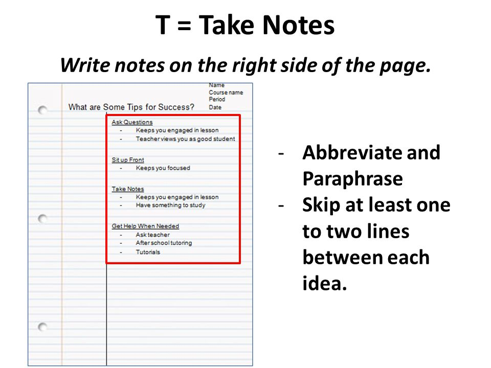 Write notes on the right side of the page.