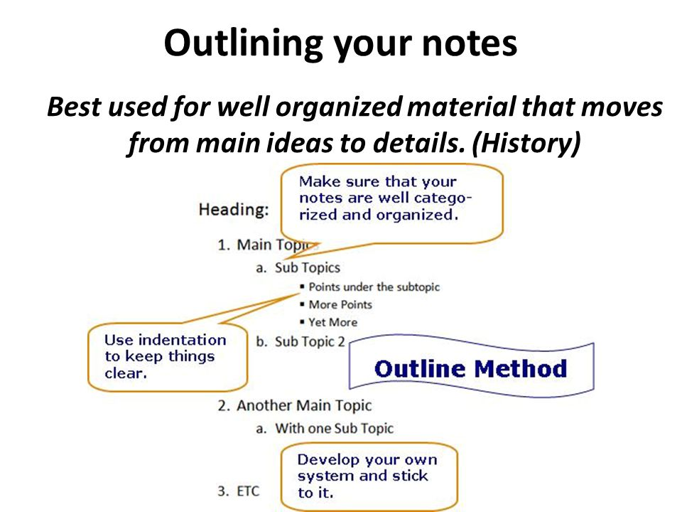 Outlining your notes Best used for well organized material that moves from main ideas to details.