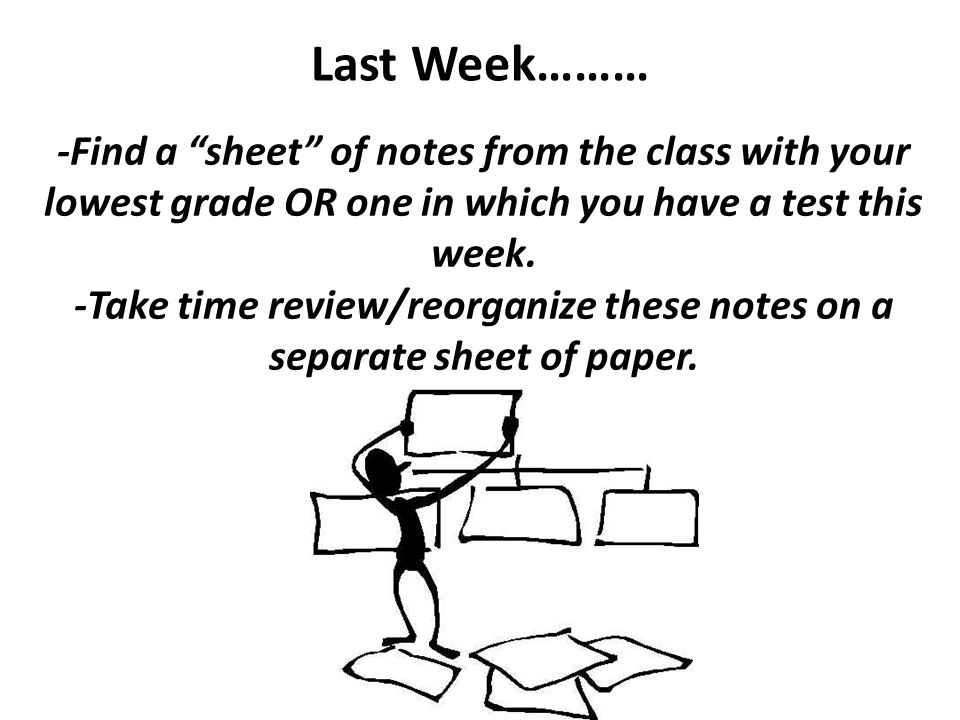 -Take time review/reorganize these notes on a separate sheet of paper.