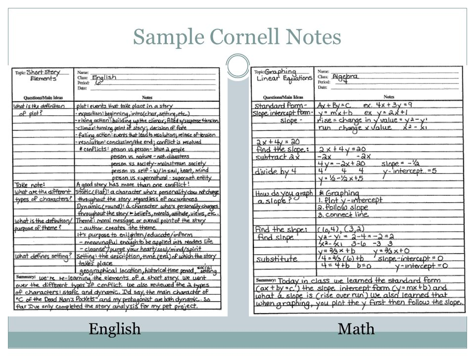 Structured NoteTaking For All Students ppt download – Sample Cornell Note