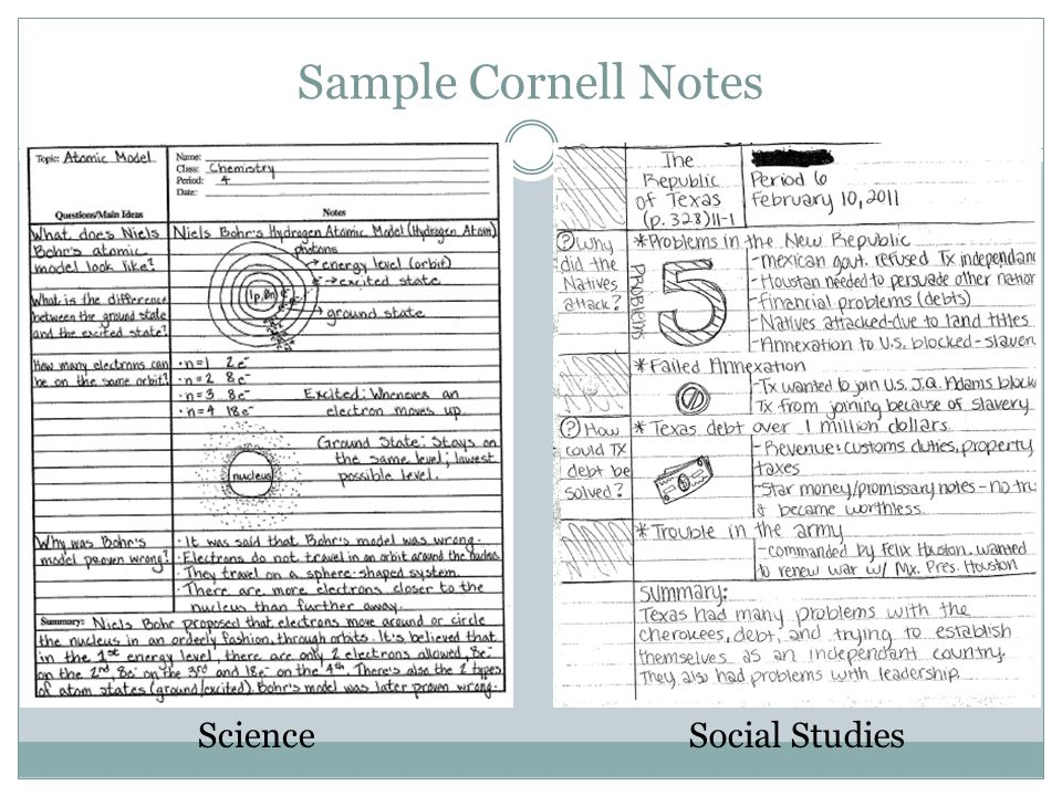 cornell notes sample and directions On the notes, there are a few 'do' sections for which students should follow the directions to add to the notes there is a sum it up section at the end of the notes, for which students practice with the vocabulary, units, and sample problems finding density, mass, and volume using the 'density triangle', as well as watching a.