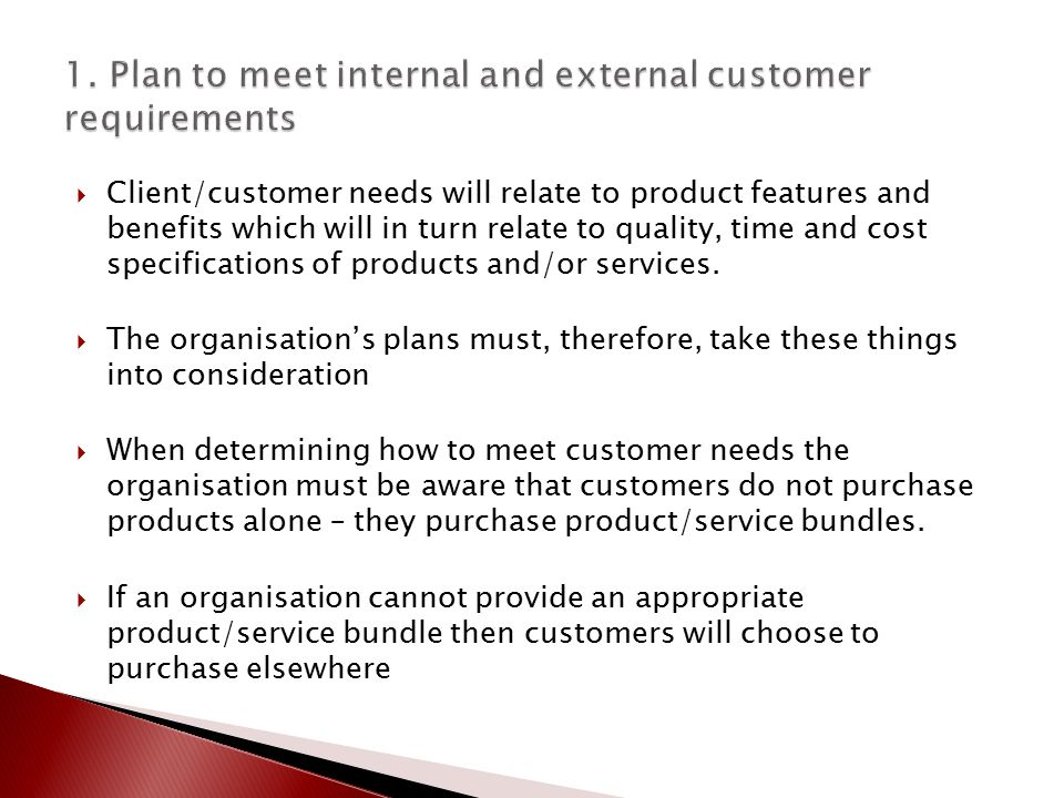 bsbcus501c presentation 1 Diploma of managementbsbcus501c – manage quality customer service  1 plan to meet internal and external customer requirements  personal presentation .