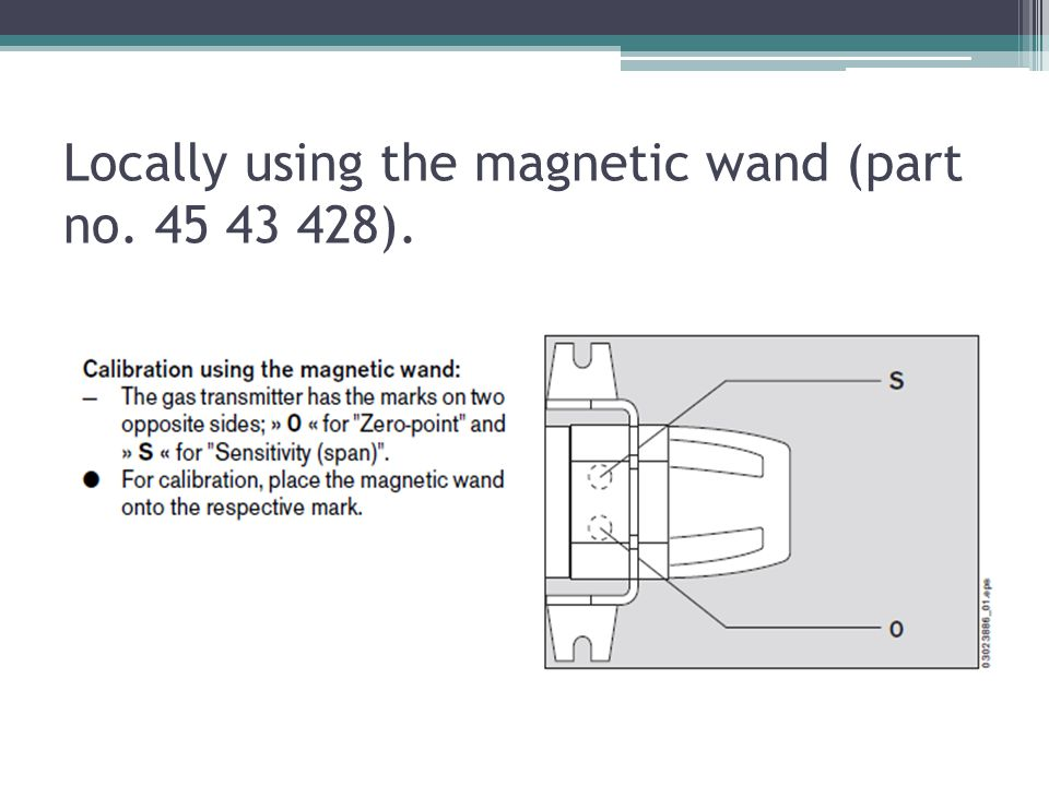 Locally using the magnetic wand (part no ).