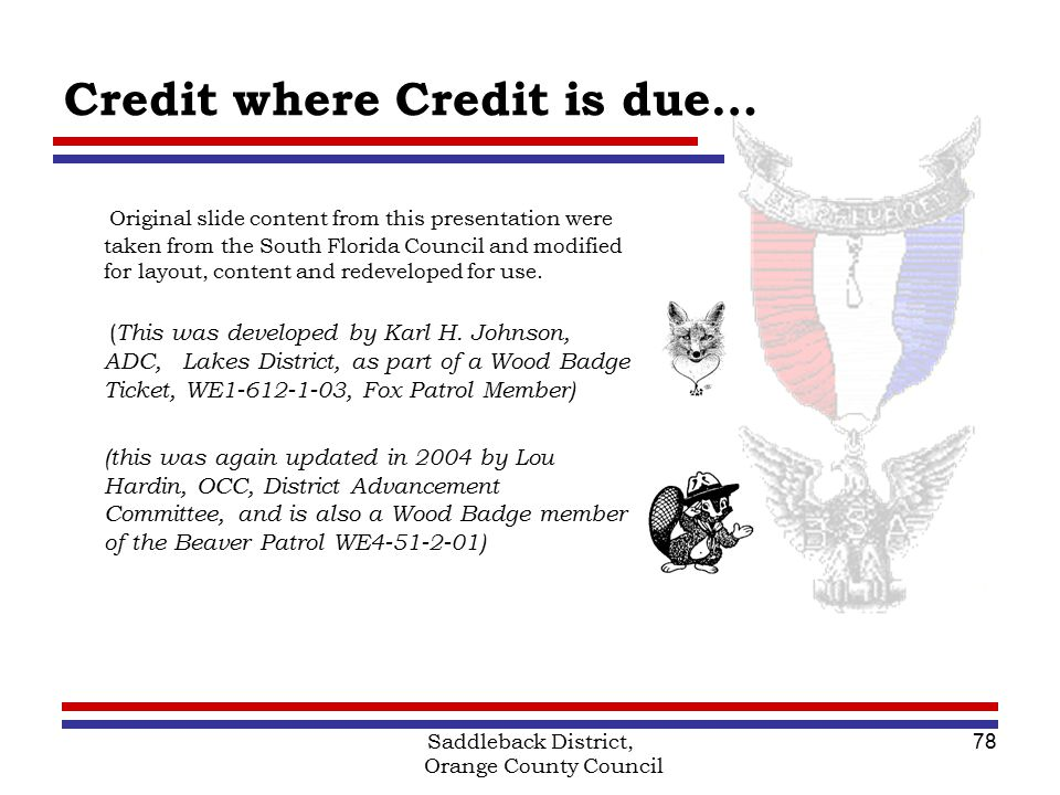 Saddleback District Orange County Council Boy Scouts of America – Wood Badge Ticket Worksheet