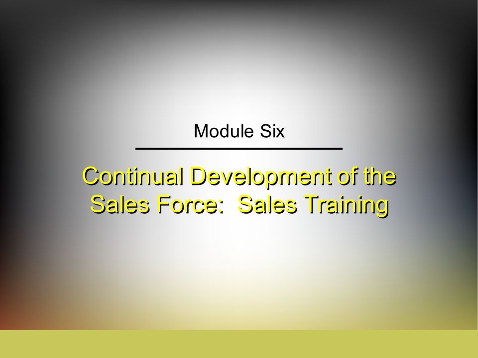 Continual Development of the Sales Force: Sales Training - ppt ...