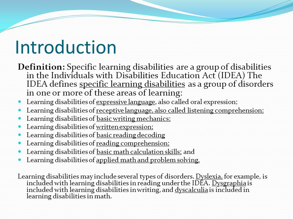 the creative writing learning disabilities In part 1 of learning disabilities and writing, i broadly defined three particular learning challenges: adhd, dysgraphia, and dyslexia, specifically identifying how each affects a student's writing.