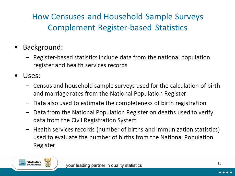 How Censuses and Household Sample Surveys Complement Register-based Statistics