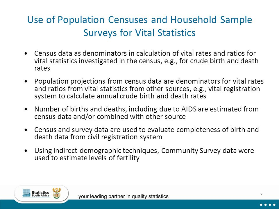 Use of Population Censuses and Household Sample Surveys for Vital Statistics