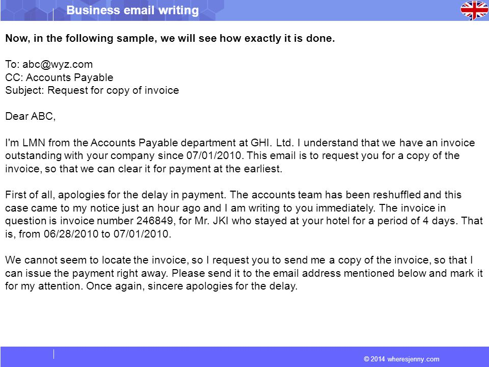 How to write an email to request a payment