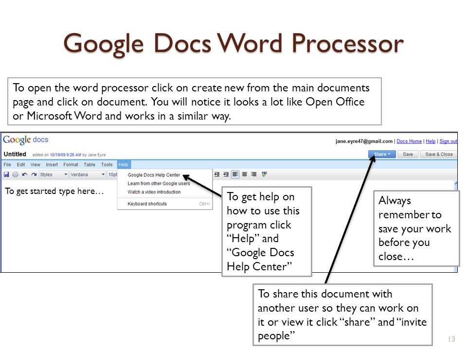 google account basics getting started with free google With google docs word processor download