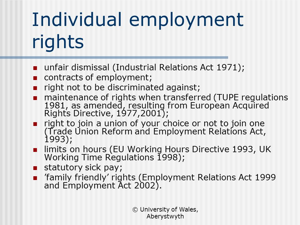 individual employment rights The authors examine disposition statistics from employment arbitration cases administered over an 11-year period by the american arbitration association (aaa) to investigate the process of dispute resolution in this new institution of employment relations they investigate the predictors of settlement before the arbitration hearing and then estimate models for the likelihood of employee wins.