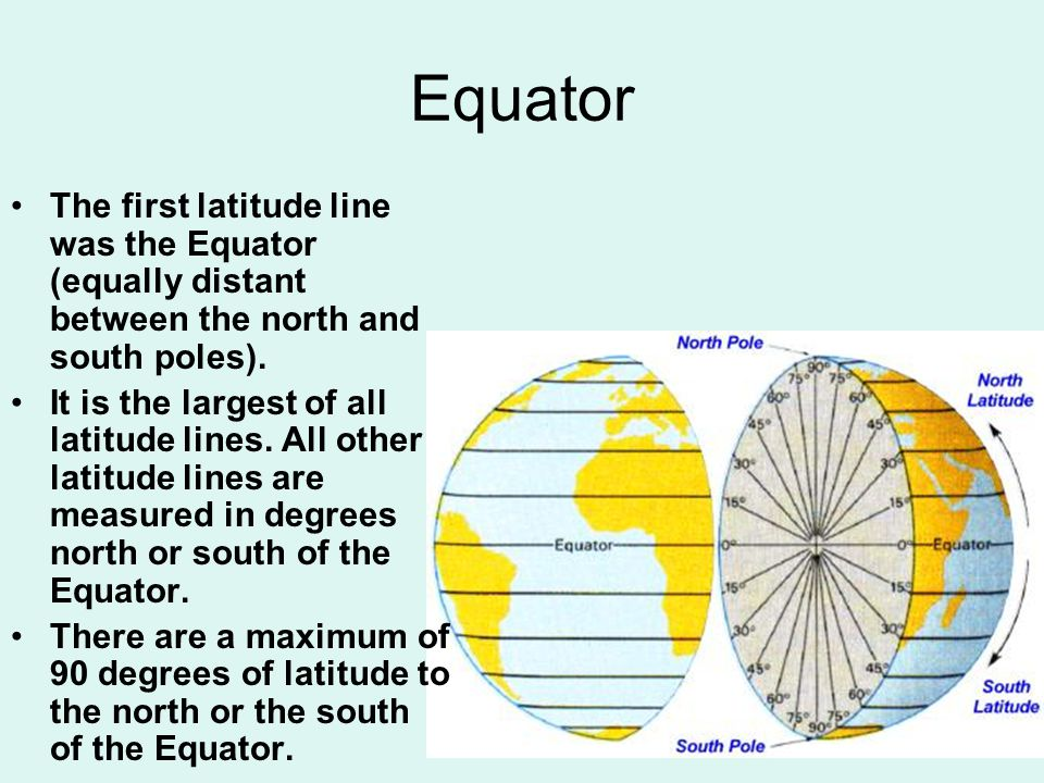 Equator The first latitude line was the Equator (equally distant between the north and south poles).