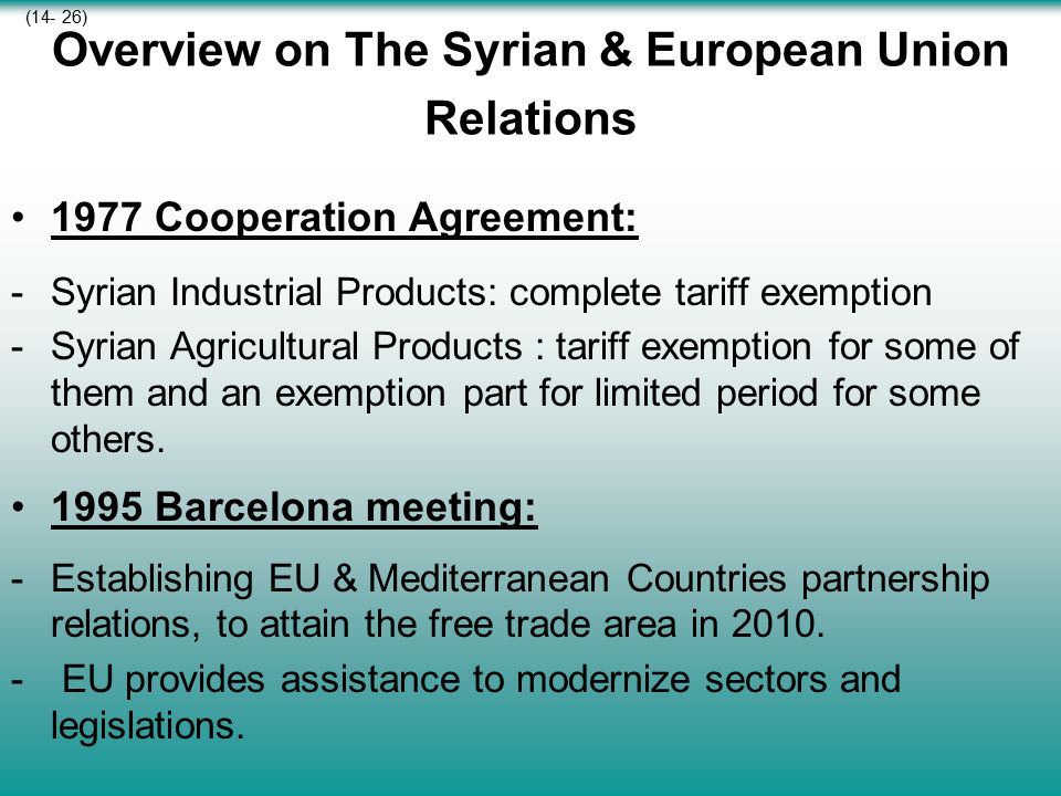 Overview on The Syrian & European Union Relations