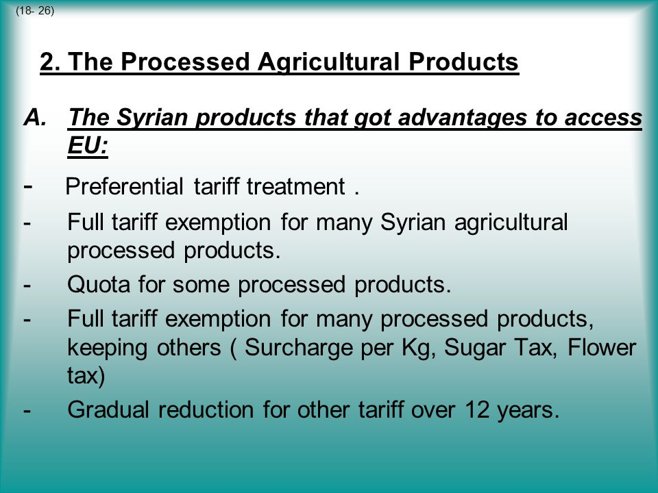 2. The Processed Agricultural Products