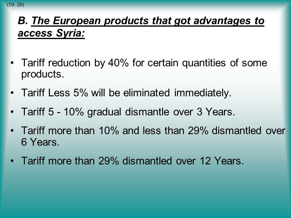 B. The European products that got advantages to access Syria: