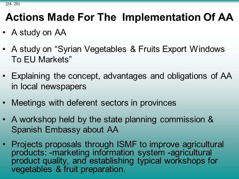Actions Made For The Implementation Of AA