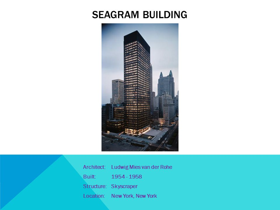 Architecture of the 1950s your inspiration ppt video for Seagram building ppt