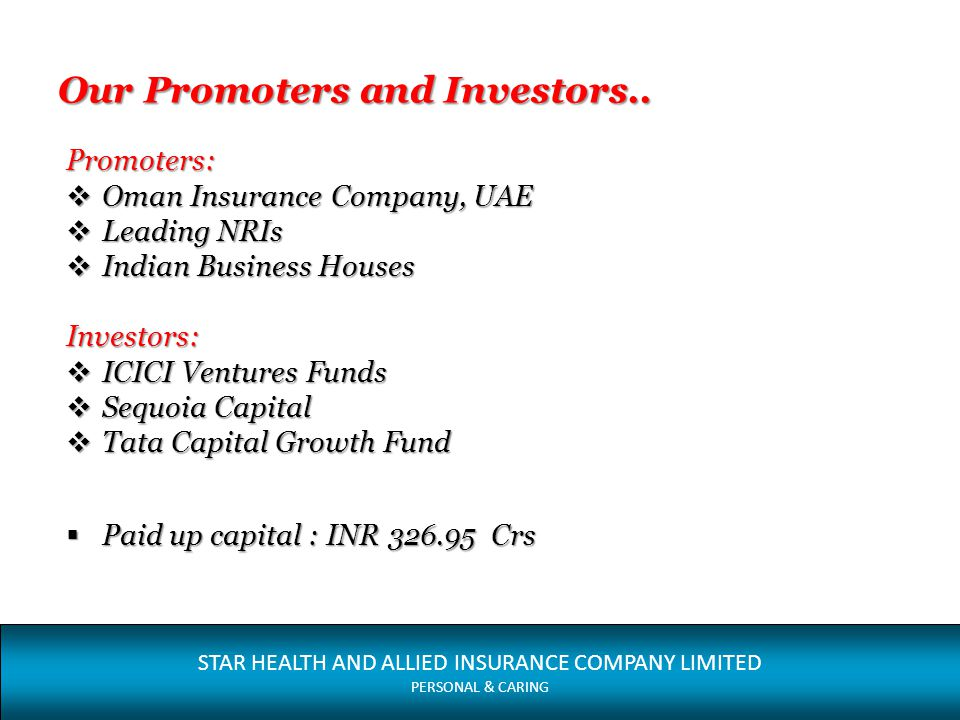 Our Promoters and Investors..