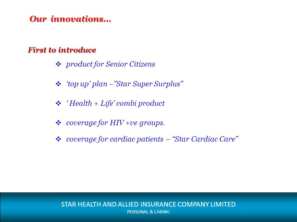 Our innovations… First to introduce product for Senior Citizens