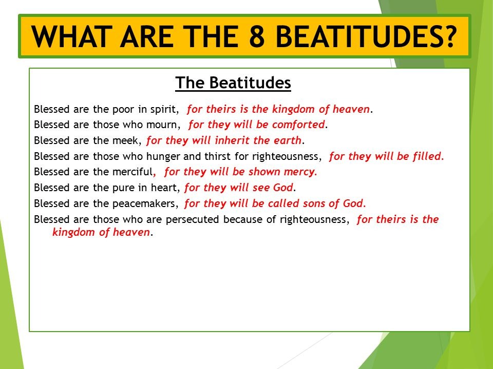 """Blessed Are The Poor In Spirit For Theirs Is The Kingdom Of Heaven The Beatitudes """"Now ..."""